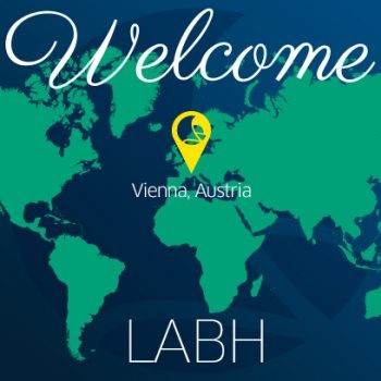 Landkarte with Welcome Text for LABH and marking Vienna